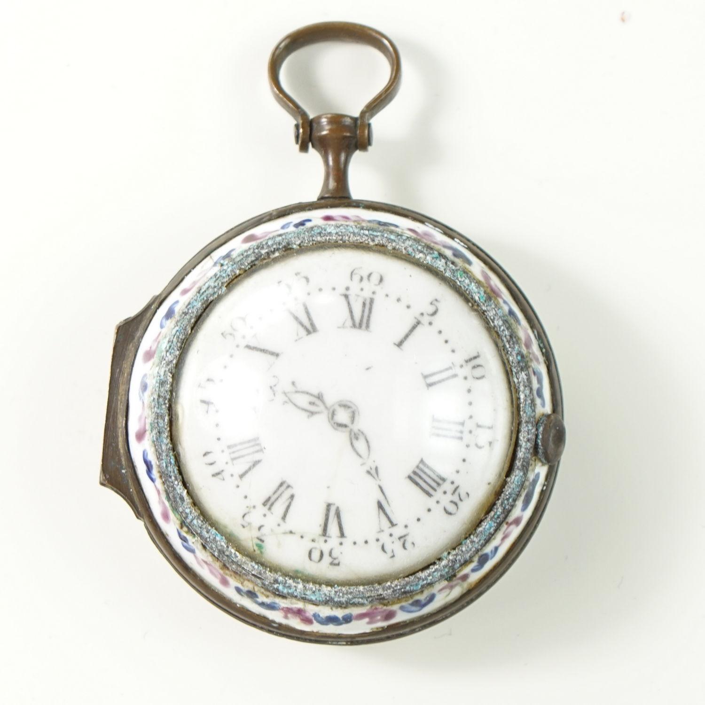 Bilston Enamel Toy Watch Box  (Faux Montre )